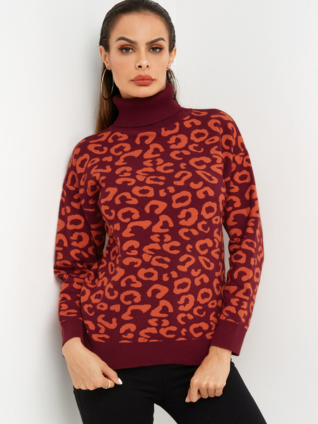 Yoins Red Leopard Turtleneck Long Sleeves Sweater