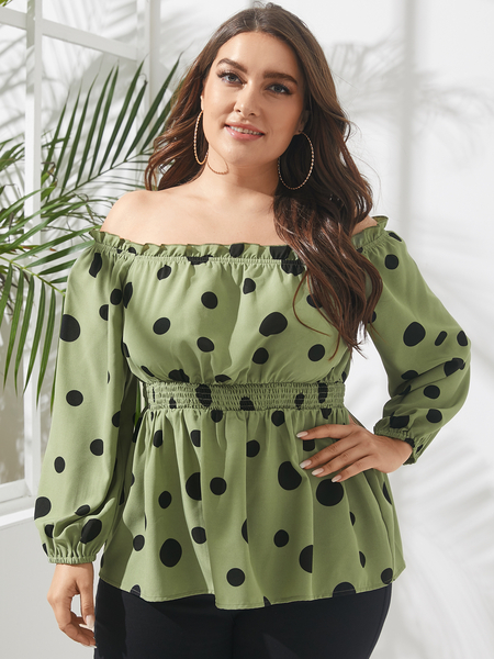 YOINS Plus Size Off The Shoulder Polka Dot Long Sleeves Blouse