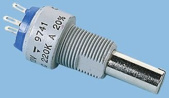 Vishay 1 Gang Rotary Cermet Potentiometer with an 6 mm Dia. Shaft - 1kΩ, ±20%, 1.5W Power Rating, Linear, Panel Mount