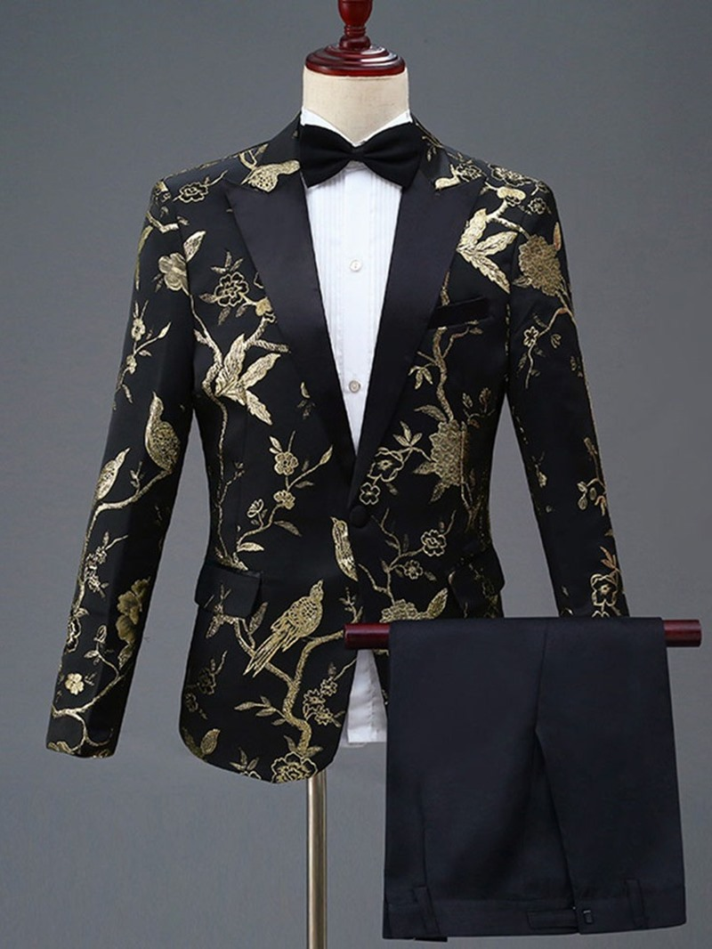 Ericdress Floral Embroidery One Button Mens Party Dress Suit