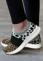 Leopard Cow Splicing Breathable Flat Sneakers