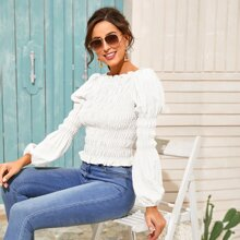 Solid Ruffle Trim Shirred Blouse