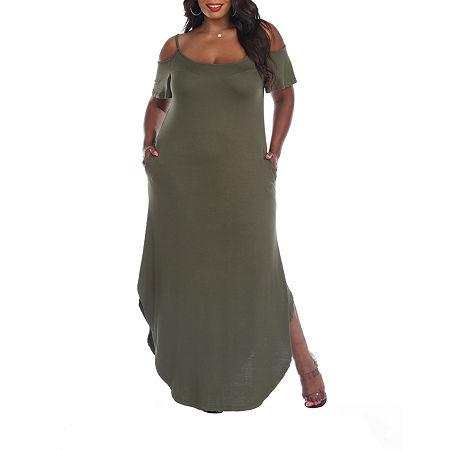 White Mark-Plus Lexi Short Sleeve Maxi Dress, 3x , Green