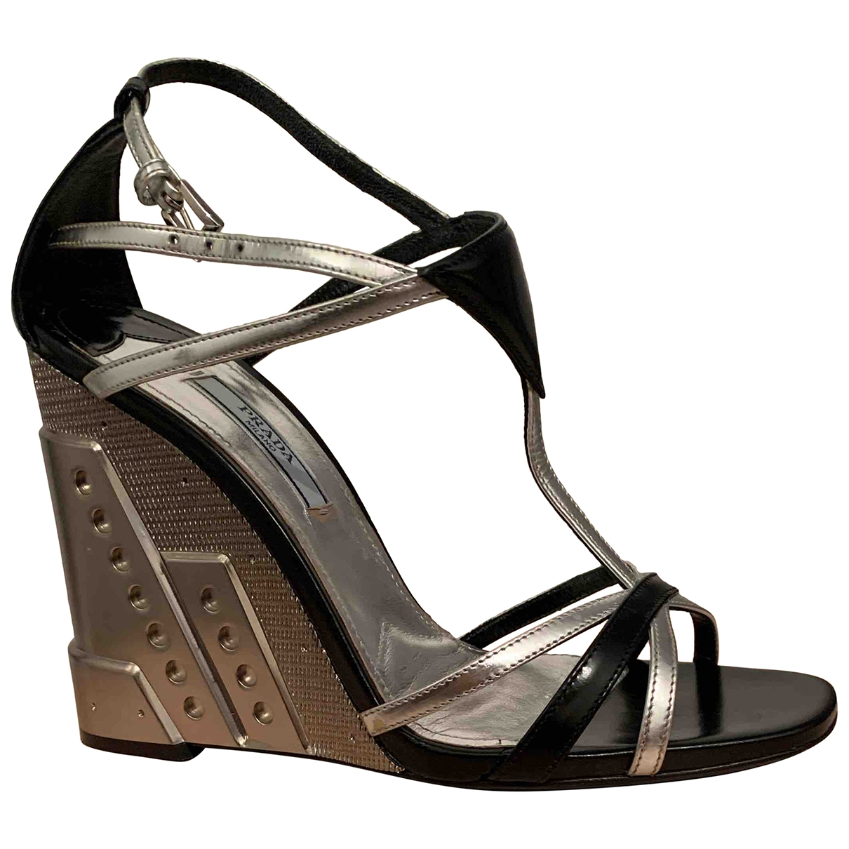 Prada \N Metallic Leather Sandals for Women 37 EU