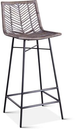 ZWBLIBCGR-2X Bali Collection Kubu Rattan Bar Chairs in Set of 2 with Whitewash Finish and Iron Legs in