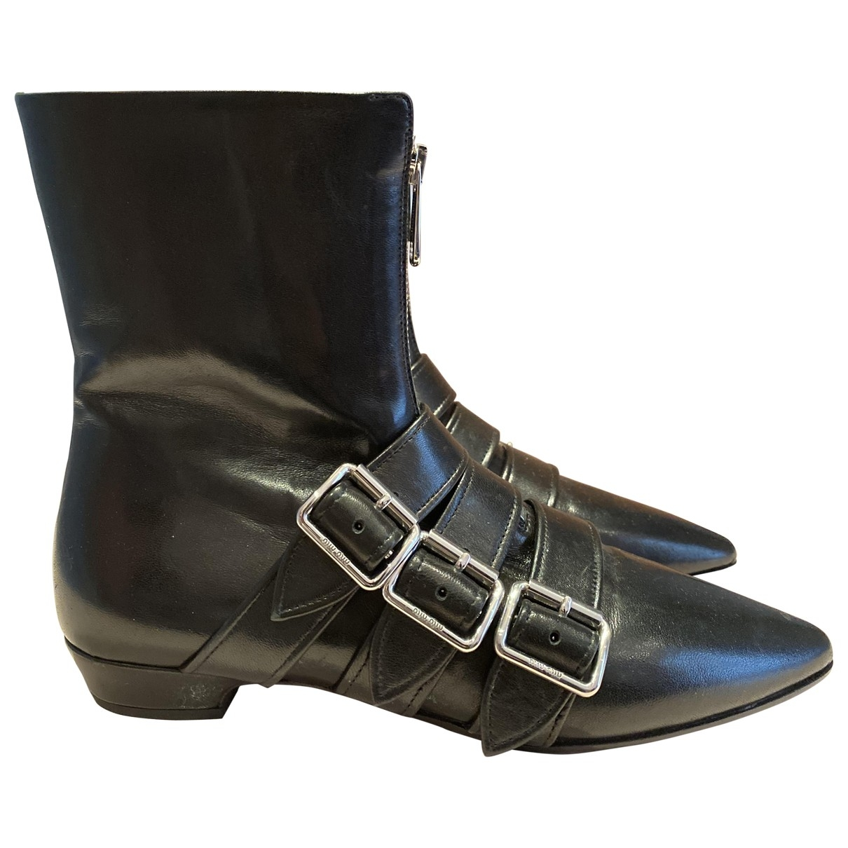 Miu Miu \N Black Leather Ankle boots for Women 37 IT