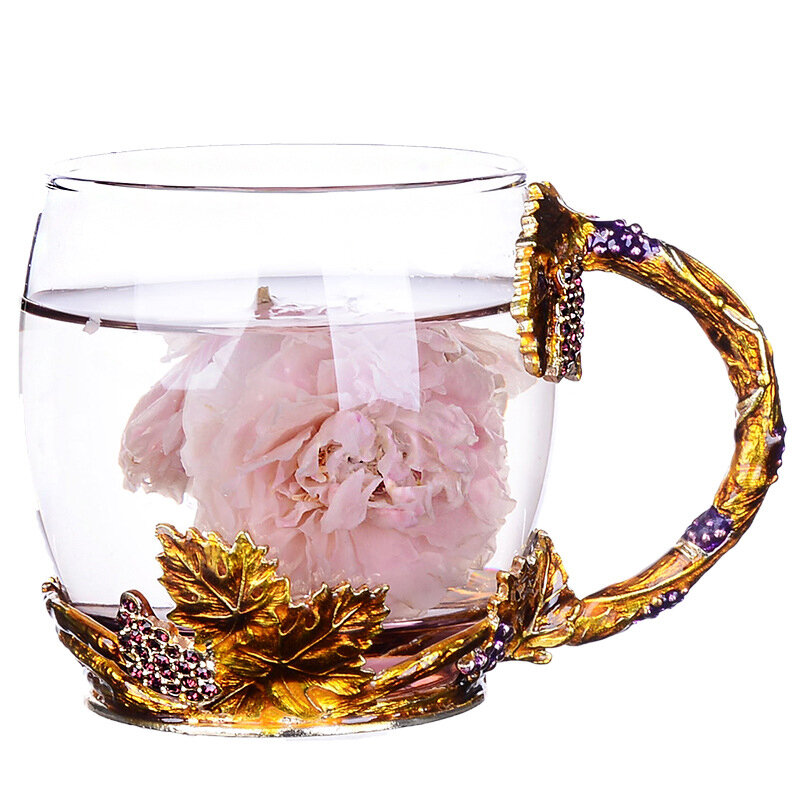 Golden and Purple Color Combination Enamel Glass Cup Crystal Embed Beautiful Glass Mug Ideal Gift