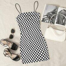Vestido slip de cuadros