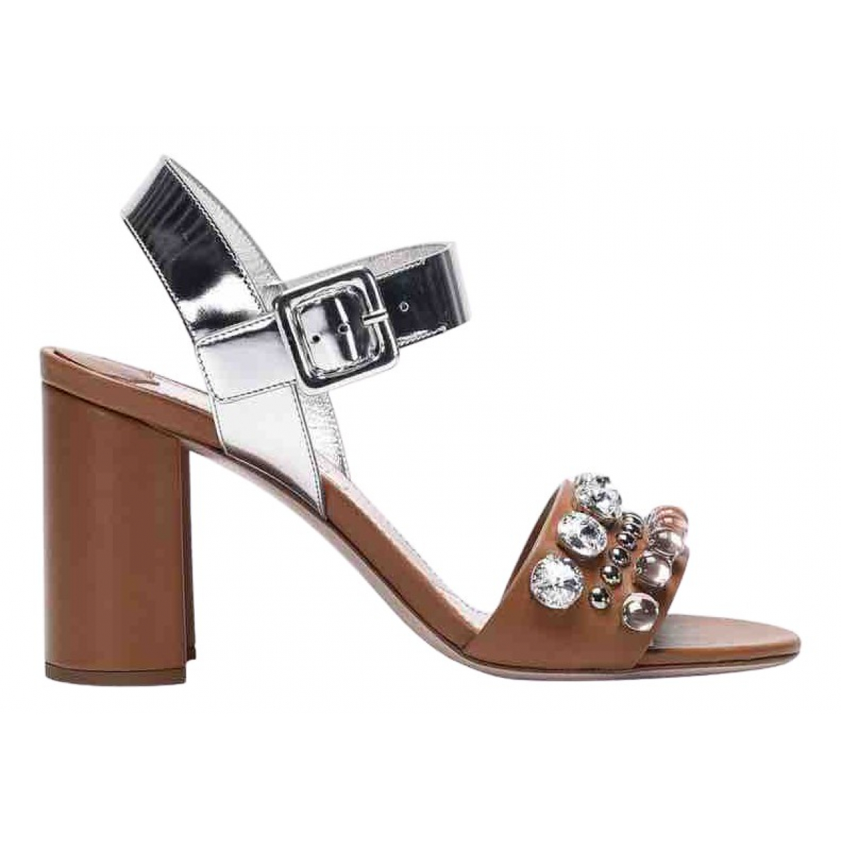Miu Miu \N Silver Leather Sandals for Women 37.5 EU