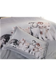 3D Husky Puppies Digital Printing 5-Piece Lightweight Warm Zipper Comforter Set with White Down Quilt for Spring and Summer