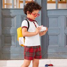 Toddler Boys Contrast Collar Polo Shirt  & Tartan Shorts