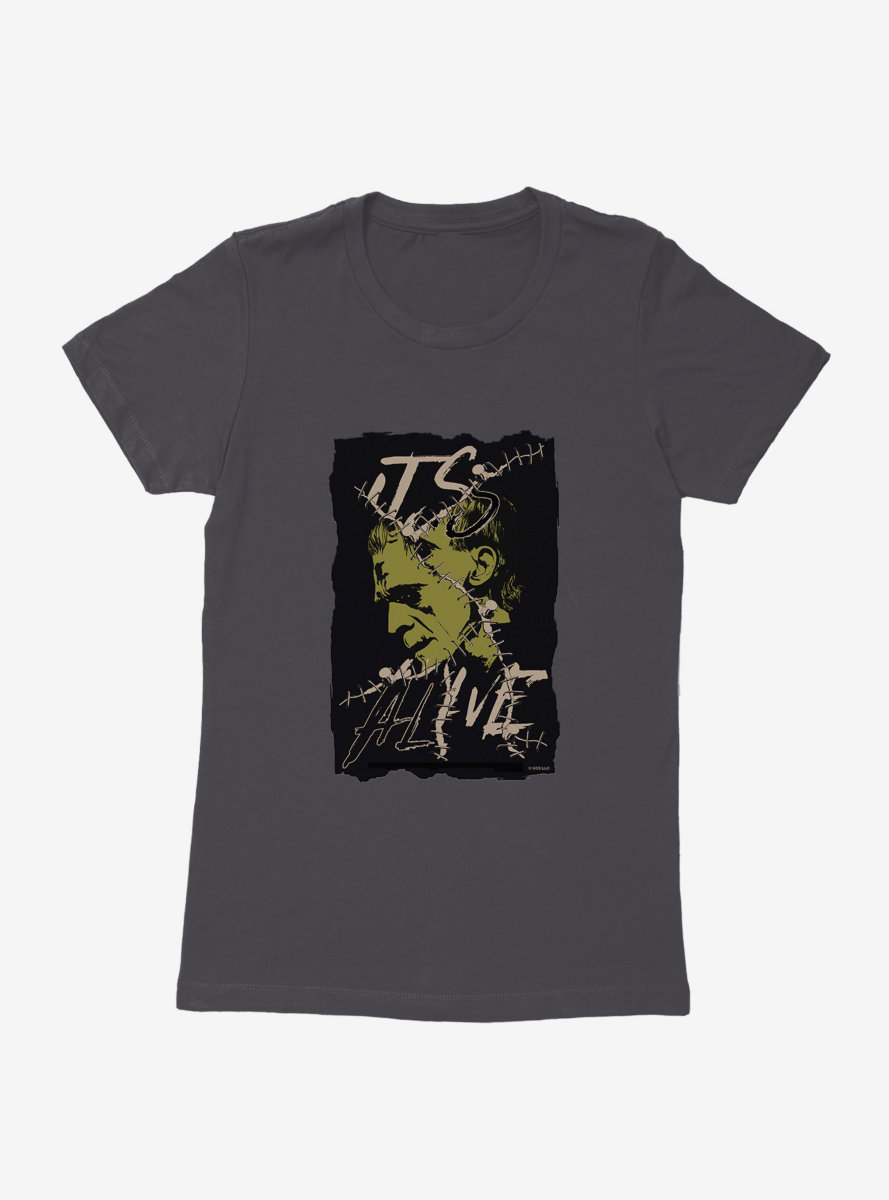 Universal Monsters Frankenstein Alive Portrait Womens T-Shirt
