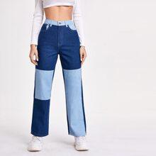 High Waist Colorblock Straight Leg Jeans