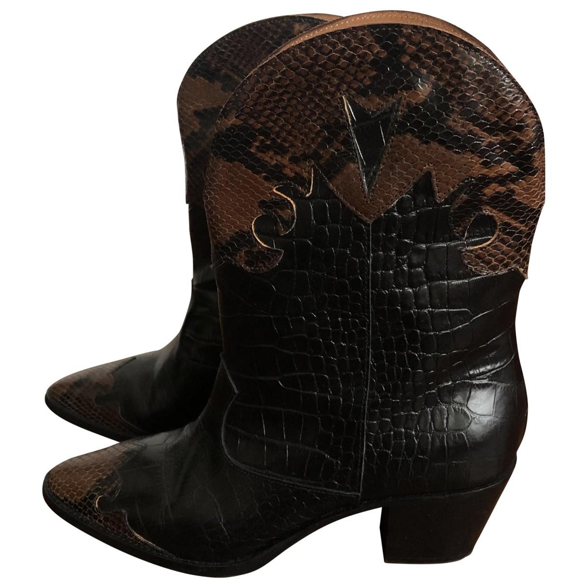 Paris Texas - Boots   pour femme en cuir - noir