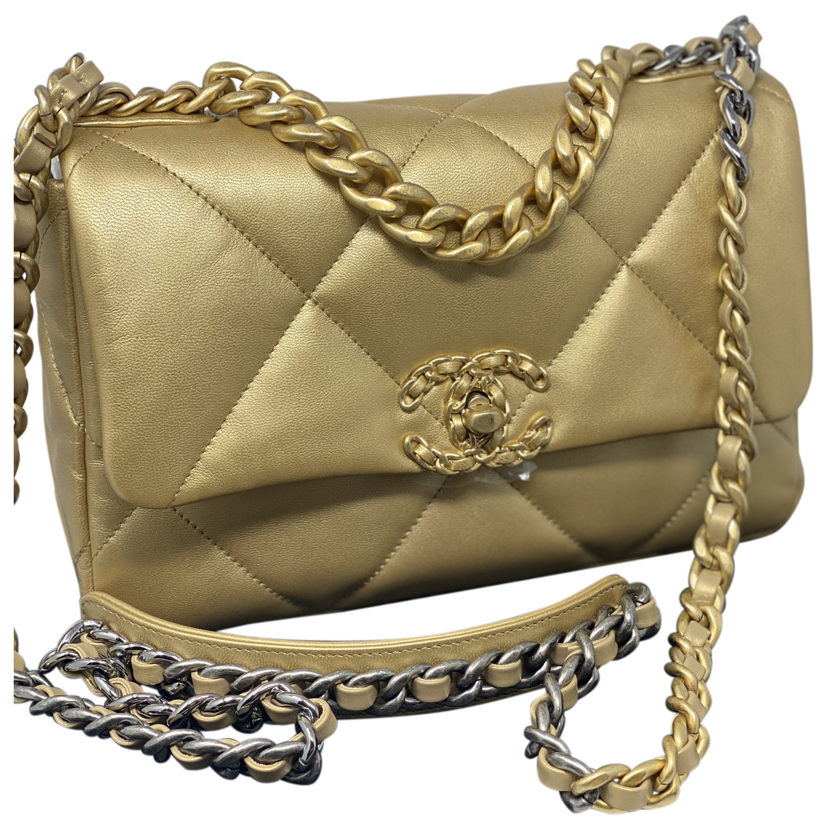 Chanel Chanel 19 Gold Leather handbag for Women N