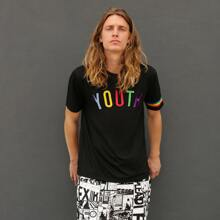 Men Letter Embroidered Rainbow Striped Tape Detail Top