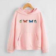 Hoodie mit Schmetterling Muster, Taschen vorn und sehr tief angesetzter Schulterpartie