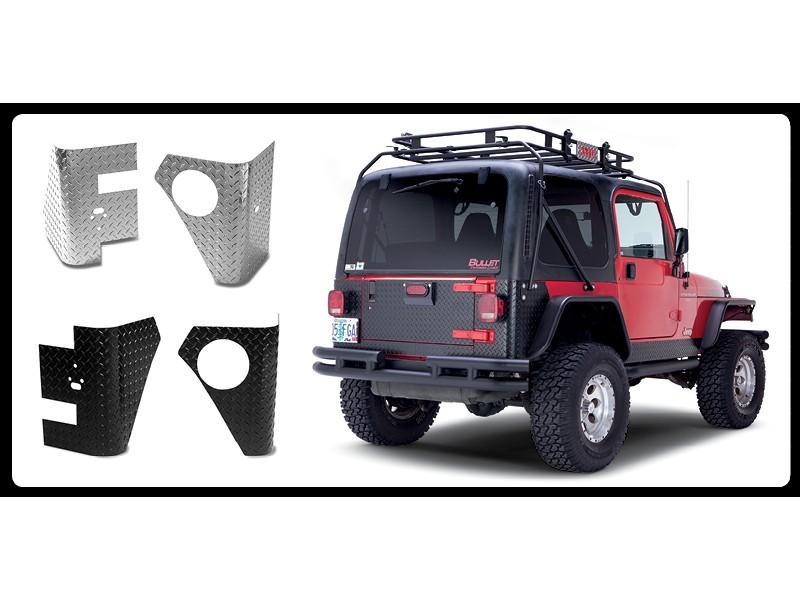 Warrior Products 916 Rear Corners No Holes Aluminum Diamond Plate Finish Jeep TJ Wrangler 97-06
