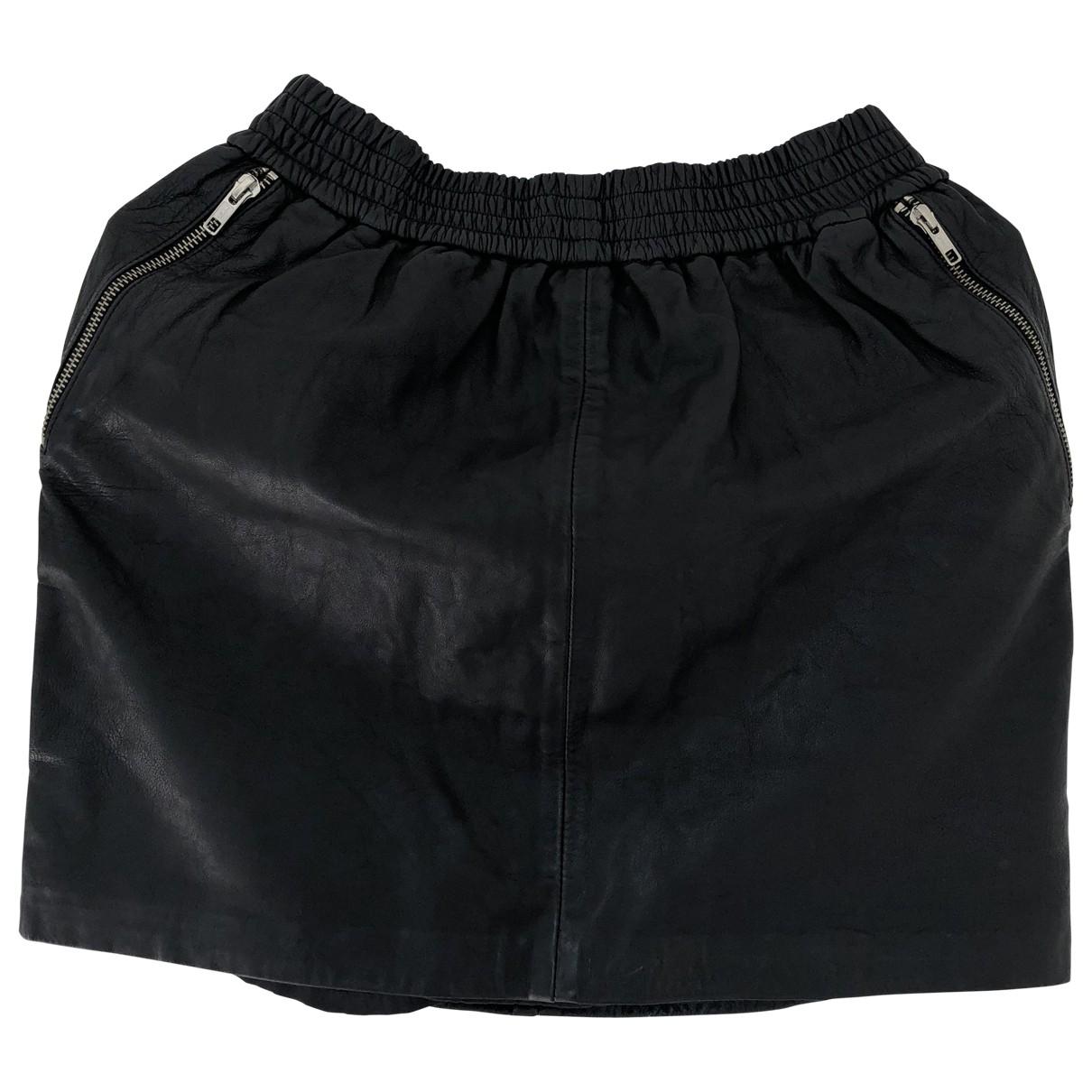 Designers Remix - Jupe   pour femme en cuir - noir