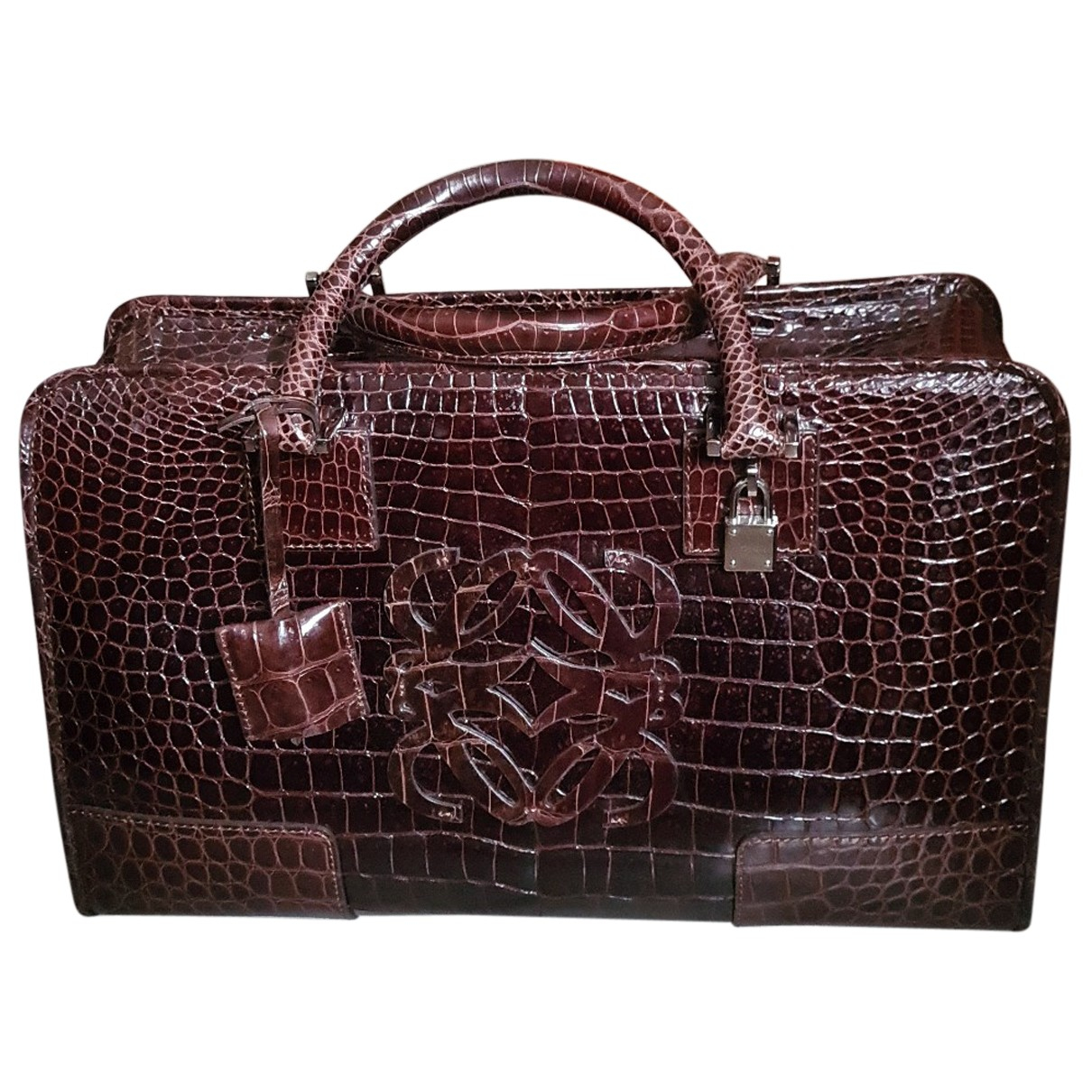 Loewe Amazona Brown Crocodile handbag for Women N