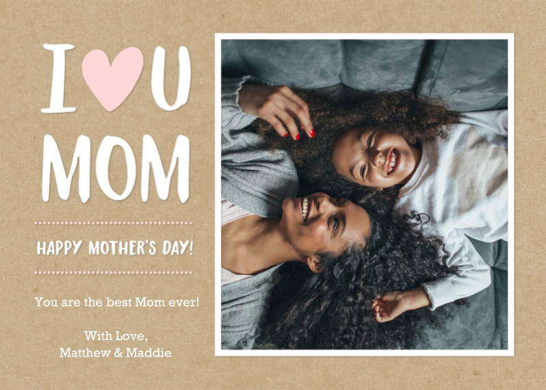 Mothers Day Cards 5x7 Folded Cards, Premium Cardstock 120lb, Card & Stationery -Moms Day Heart Memories