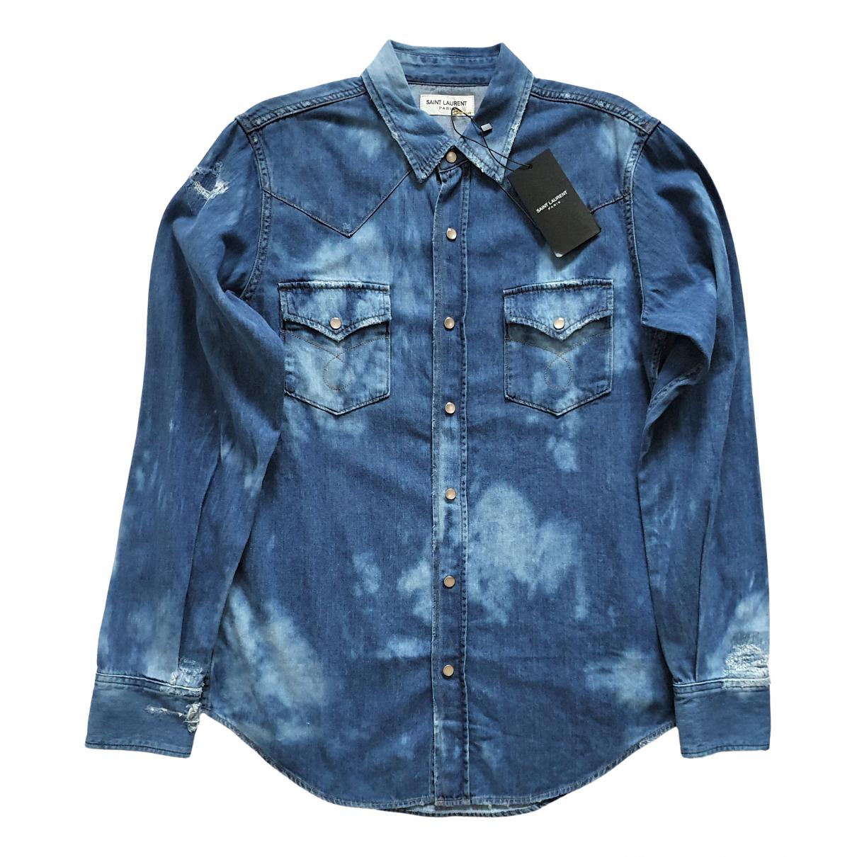 Saint Laurent - Chemises   pour homme en denim - bleu