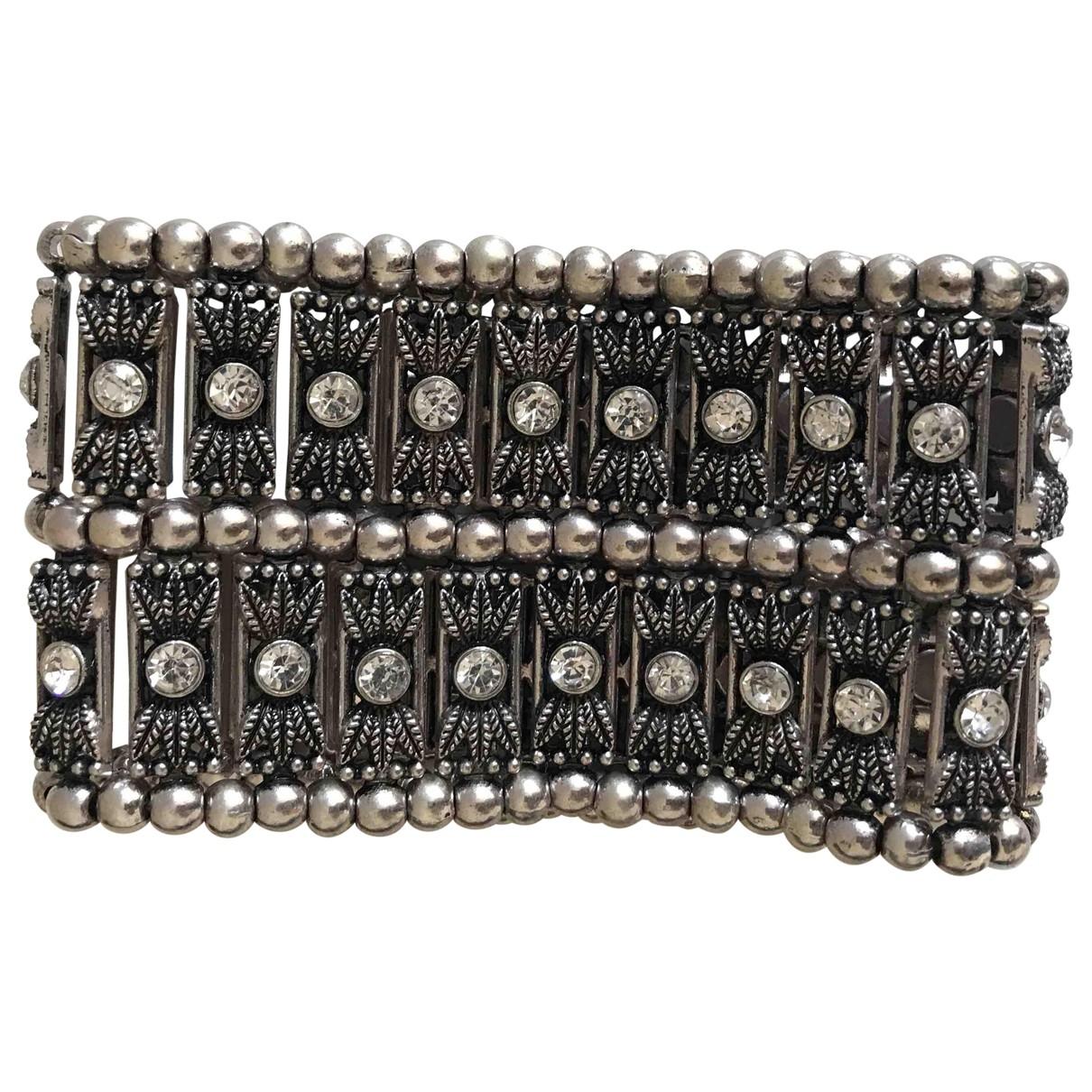 Non Signé / Unsigned Manchette Metallic Crystal bracelet for Women \N