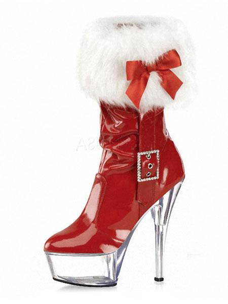 Milanoo Botas sexy de navidad Plataforma roja Punta redonda Botas de tacon alto con detalle de piel Detalle