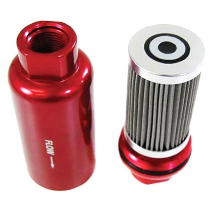 Racing Power Company R5431 Red Aluminum Inline Fuel Filter