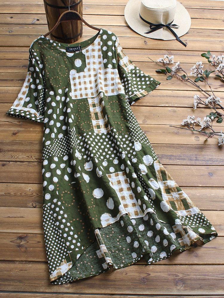 Women Short Sleeve O-neck Floral Print Irregular Dress