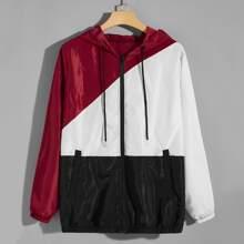 Men Zip Up Color Block Windbreaker Jacket