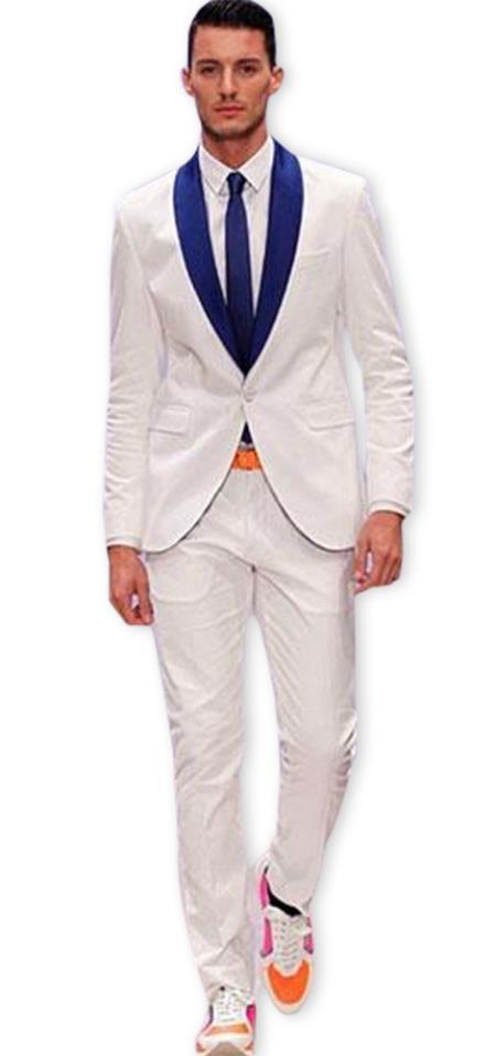 Men's blue Shawl Lapel Tuxedo Fashion Two Toned Suit Jacket & Pants