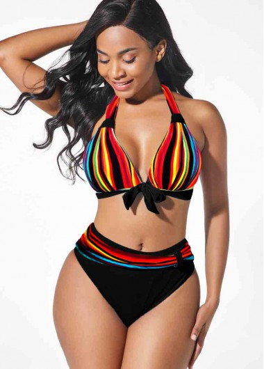Women'S Black Two Piece Bikini Swimsuit Multi Color Stripe Print Halter Neck Padded Wire Free Bathing Suit By Rosewe - 18