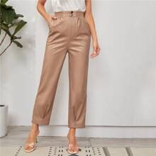 Shirred Waist Slant Pocket PU Leather Pants
