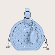 Studded Decor Quilted Satchel Bag