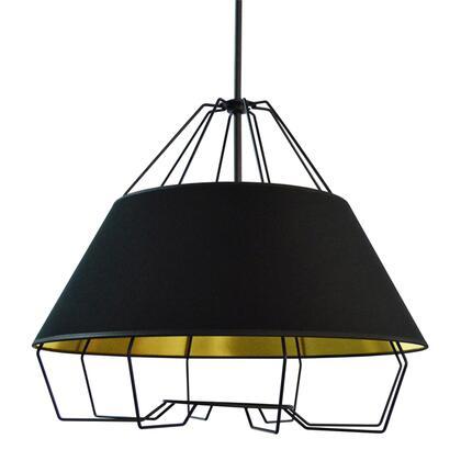 ROC-2420-698 4 Light Black Pendant With Black On Gold Hardback