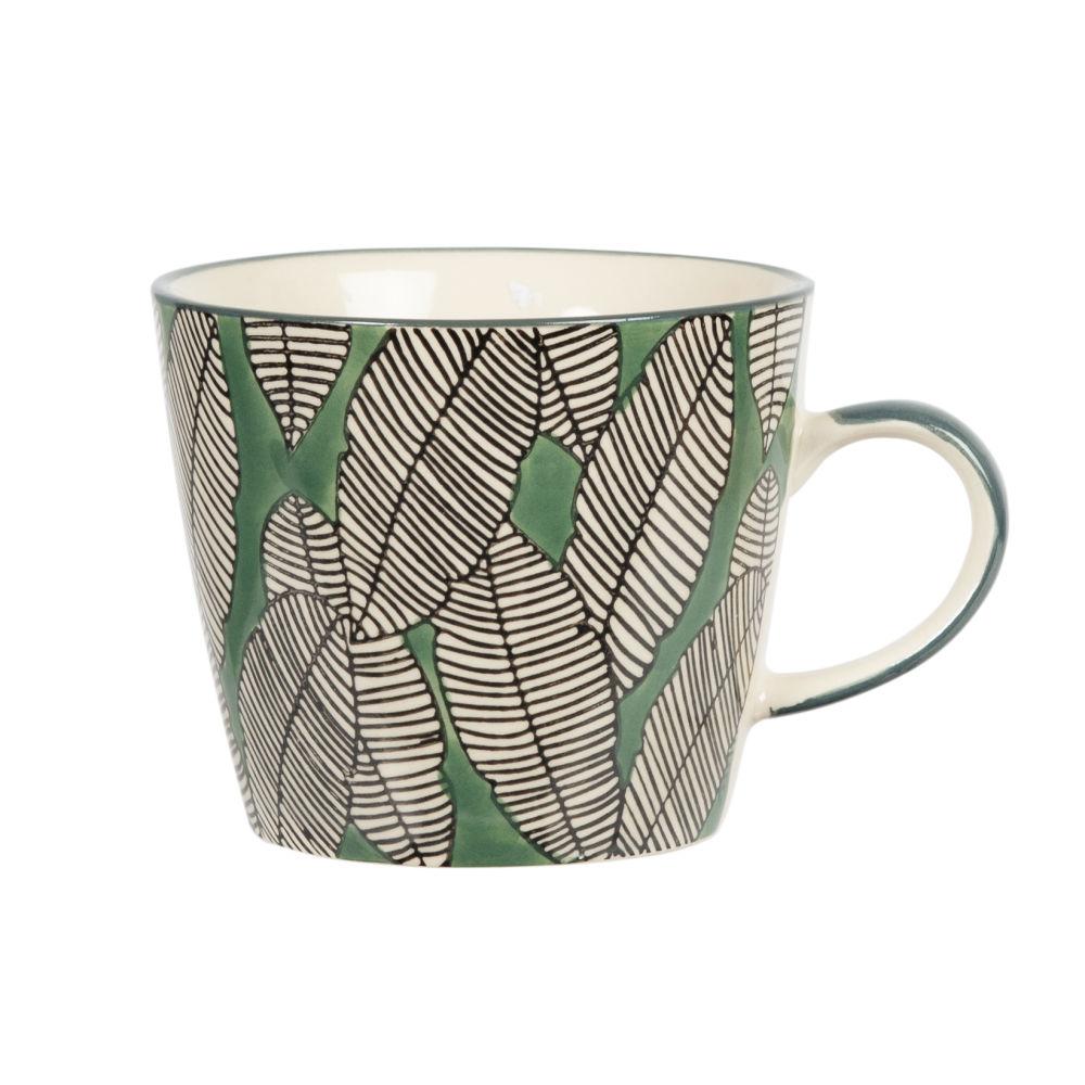 Tasse aus Fayence mit Laubmotiv, gruen, schwarz und weiss