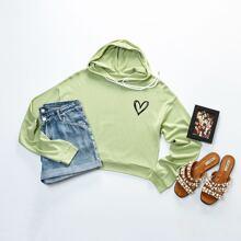 Pullover mit Herzen Muster und Kapuze