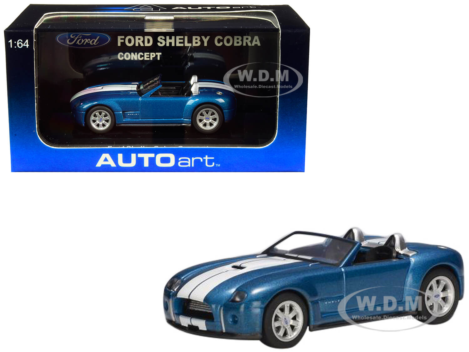 2004 Ford Shelby Cobra Concept Guardsman Blue Metallic with Performance White Stripes 1/64 Diecast Model Car by Autoart