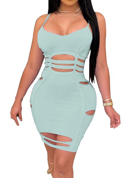 Milanoo Vestido del club de las mujeres Vestido de tubo ajustado sin mangas de poliester sin mangas con cuello de tirantes purpuras