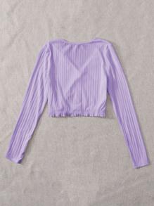 Button Front Rib-knit Frill Hem Crop Tee