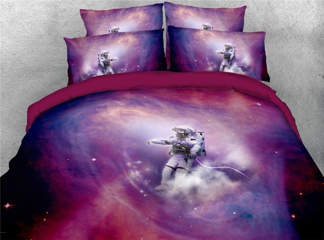 Astronaut Galaxy Spaceman  Five-Piece Set Machine Colorfast Wear-resistant Set Polyester Bedding Sets