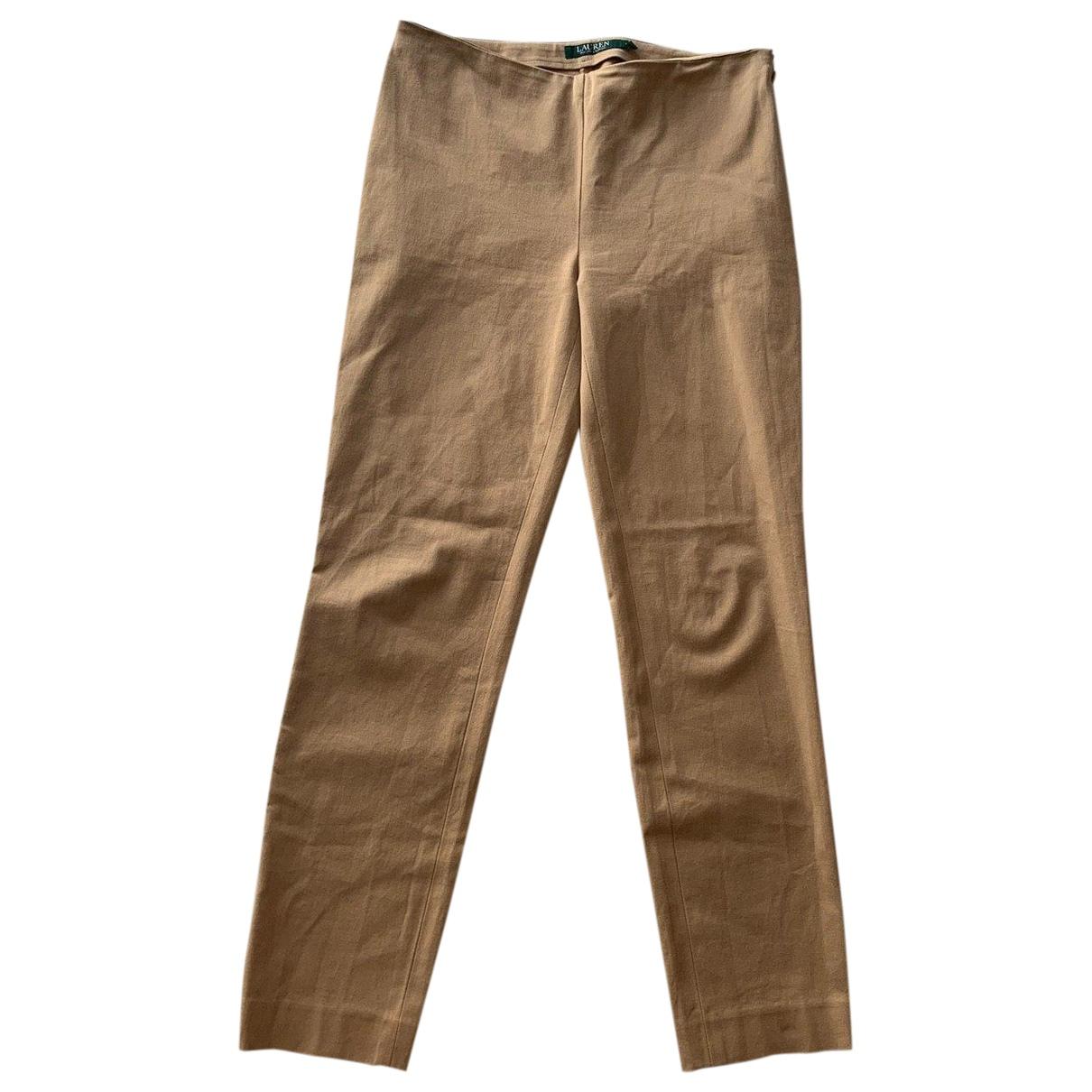 Lauren Ralph Lauren \N Beige Cotton Trousers for Women 4 US