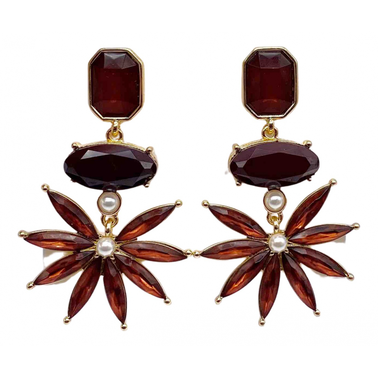 Non Signé / Unsigned Motifs Floraux Gold Metal Earrings for Women N