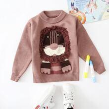 Toddler Boys Cartoon Lion Sweater