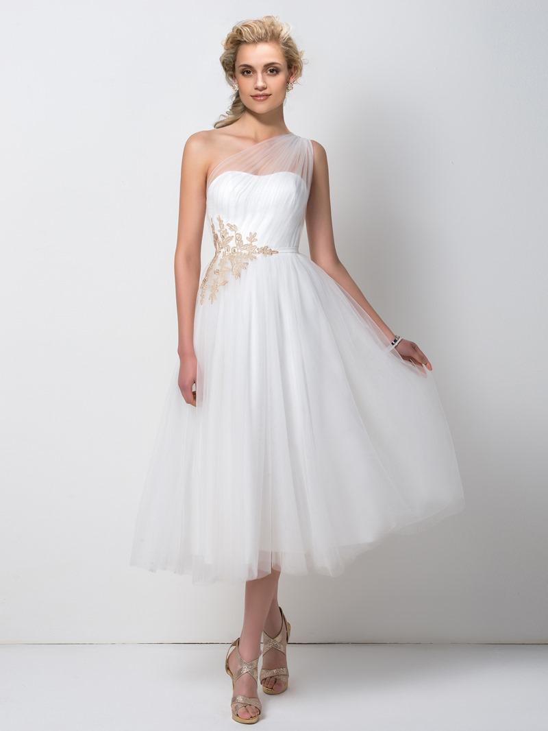 Ericdress Pretty A-Line One Shoulder Tea Length Bridesmaid Dress