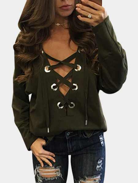 Yoins Amry Green Sexy Pattern V-neck Lace-up Front Top