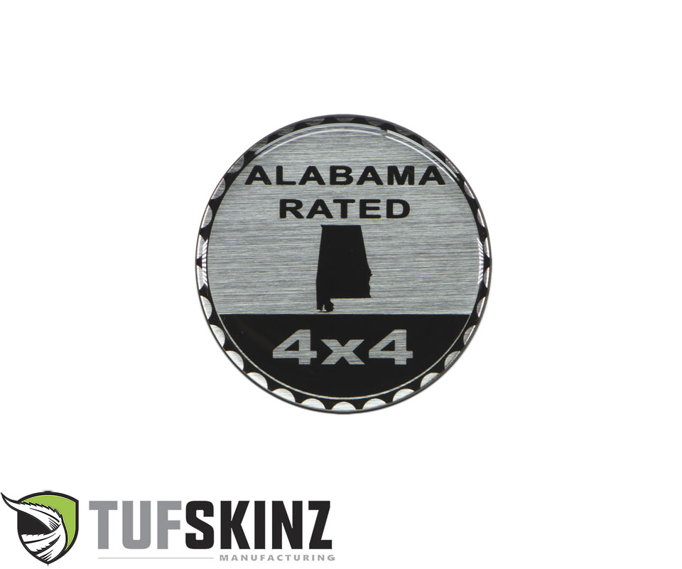 Tufskinz JEX059-DUM-042-G Rated Badge Fits Jeep 1 Piece Kit in Brushed Silver Alabama Rated
