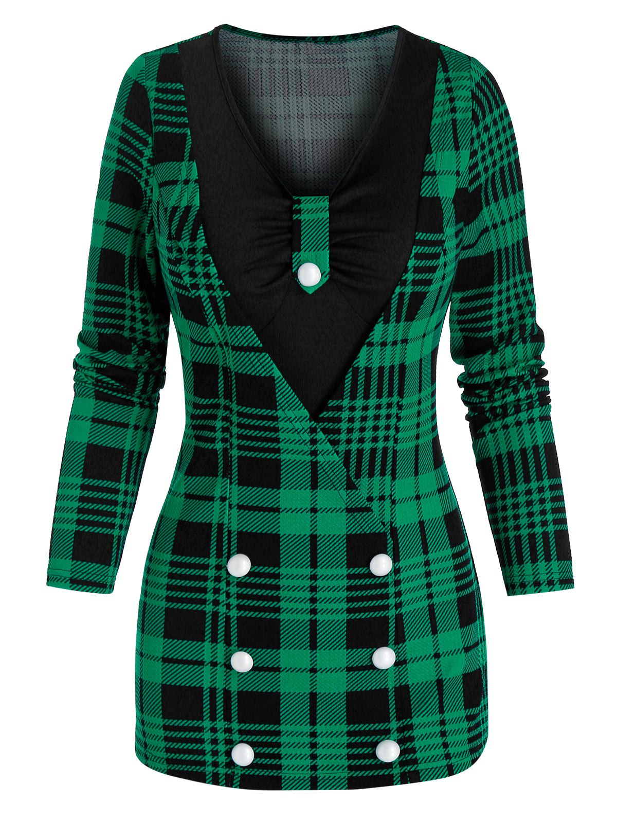 Mock Button Plaid Print Faux Twinset Knitwear