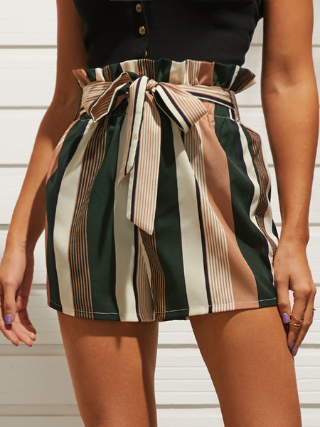 YOINS Striped Belt Self-tie Design High-waisted Shorts